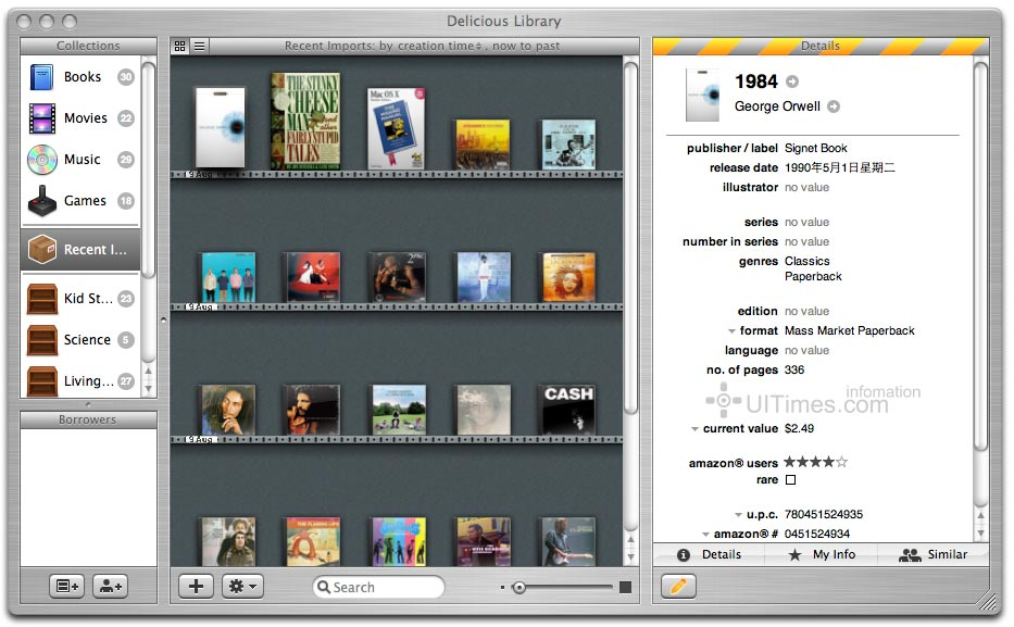 Demo版本  需要一个isight摄像头,这样可以把藏品的条形码扫描进去,这样Delicious Library才可以自动上网寻找产品的资料。  在技术上面,美味图书馆的功能也非常强大,透过Amazon.com的Webservices API,可以很方便的通过搜索而获得信息,比如一本书,输入书名进行搜索,程序将调用Amazon的书库资料,选择符合的结果,它能自动将该书的所有相关信息如书名,作者,ISBN,ASIN,价格等自动导入。通过网络服务提供的metadata,电影,游戏,音乐的信息导入同样快捷。
