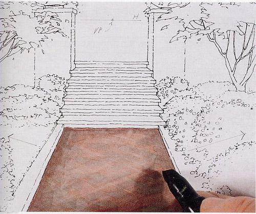 室内材质马克笔表现技法 马克笔手绘表现石头木地板砖路材