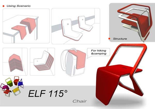 一等奖 作品:《ELF 115(Extraordinary Light Foldaway Chair)》 作者:李可巍 设计说明: 设计理念:1、节约材料,采用弯曲板剪切后的阴形和阳形组合为座椅;2、通过摞叠减少使用空间;3、通过椅子折叠的不同状态,提供不同状态的坐姿和趣味性。 使用功能:通过滑轨结构和错层结构使椅子本身达到3种状态,提供两种坐姿;小尺寸的elf可以作为户外使用。 详细尺寸:座面宽度52cm 座面进深45cm; 椅高78cm 椅宽60cm 前后跨度58cm。 素材及制造工艺:1、弯曲木(