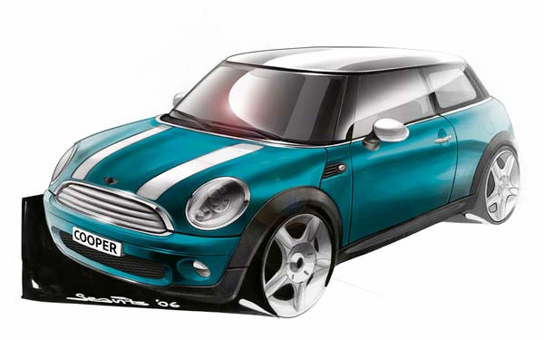 迷你2007新款车外形设计草图
