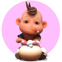 一号主角吉祥宝儿玩皮可爱,个头小小,能量巨大,时不时用无厘头似的图片