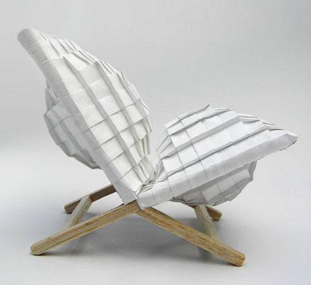 折纸创意新构思 如坐针毡的折纸椅图片