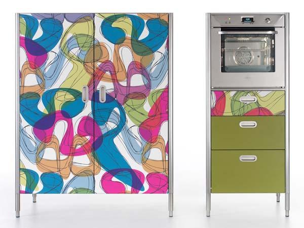 冰箱柜子一体效果图韩式