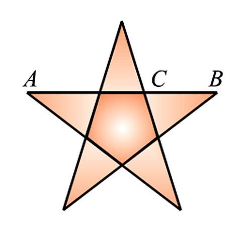 正五边形与正五角星的黄金分割; 黄金分割点; 五角星的画法图片图片
