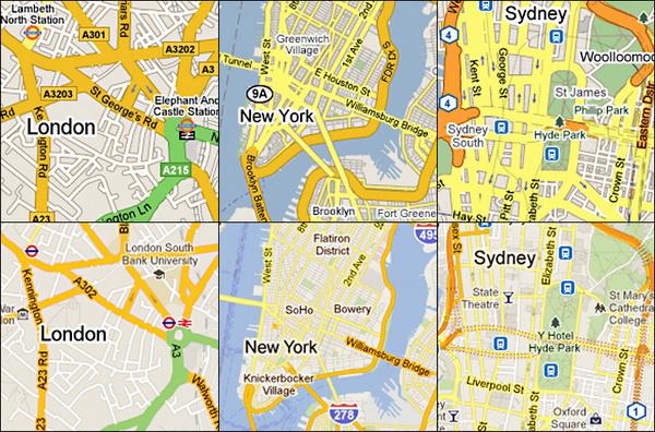 图为谷歌地图从2009年(上)至2011年(下)伦敦,纽约,悉尼路线图的设计