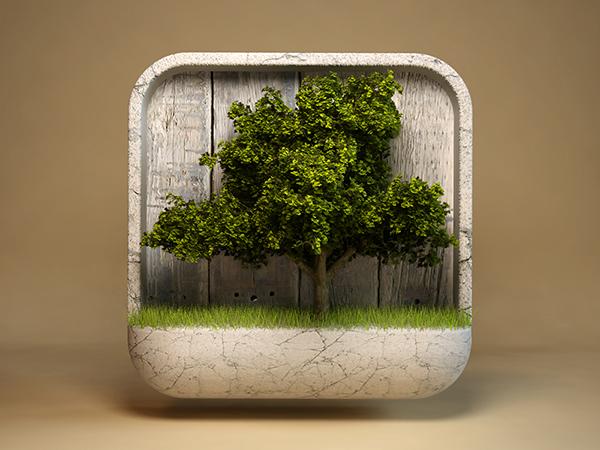 自然树木图标设计