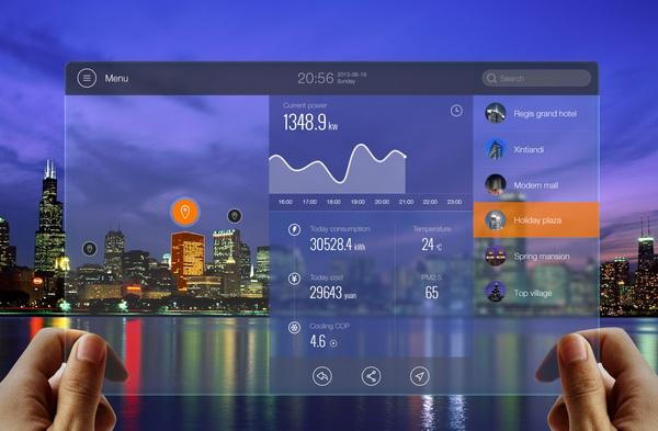 增强现实能源监控概念界面设计图片