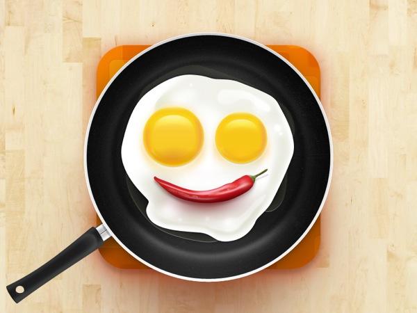 早餐笑脸煎蛋可爱图标设计