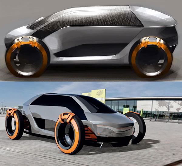 太阳能外壳电动汽车概念设计高清图片