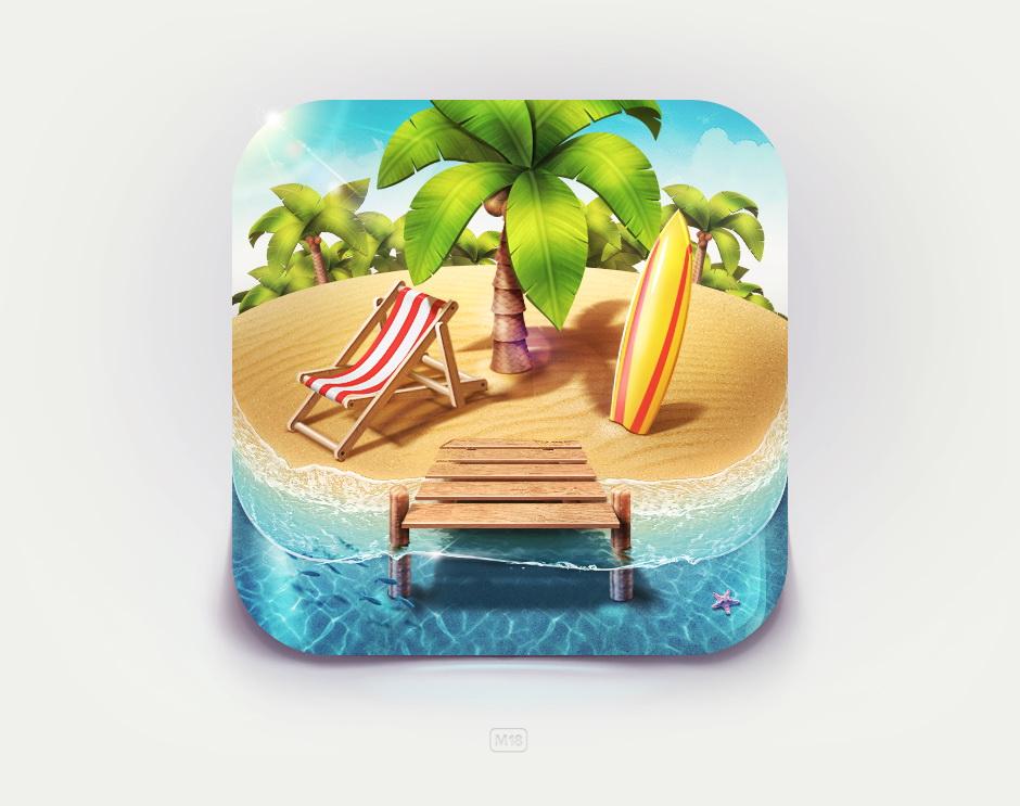 天堂岛ios 唯美icon图标设计
