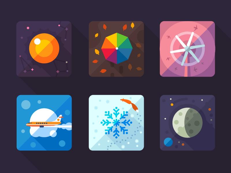 炫彩扁平化天气图标设计