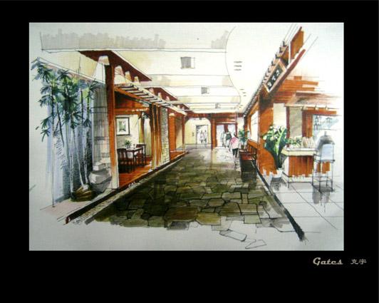 室内效果图用马克笔 马克笔手绘室内效果图 马克笔室内效果图 室内